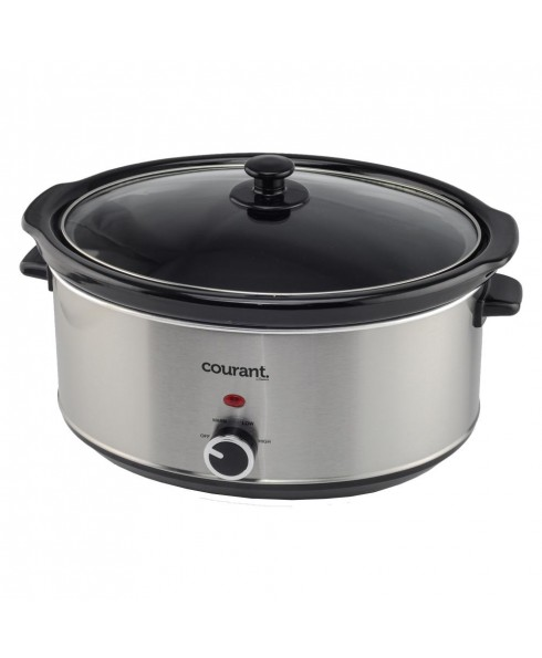 Courant 7.0 Quart Oval Slow Cooker, Stainless Steel