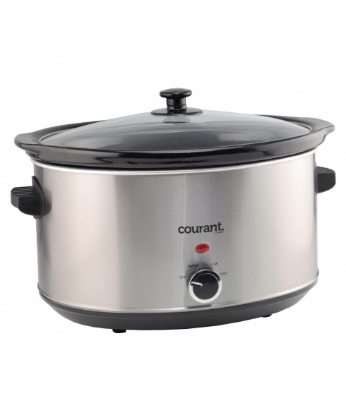 Courant 8.5 Quart Oval Slow Cooker, Stainless Steel