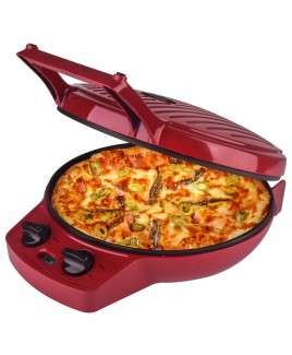 Courant 12 Inch Electronic Pizza Maker w/ Dial, Opens 180°, Red