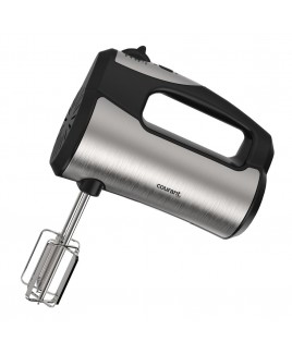 Courant 250W 5-Speed Hand Mixer with Storage Stand for Mixer, Beaters and Hooks- Stainless Steel