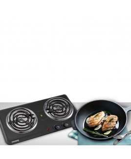 Courant 1700 Watts Electric Double Burner, Black